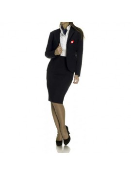 Blue coat and skirt receptionist uniform